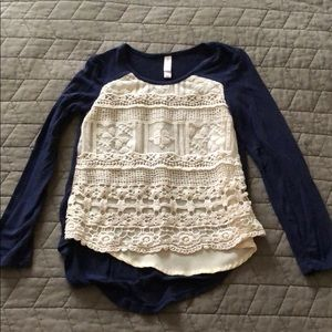Girls top with crochet overlay, size 6/6X